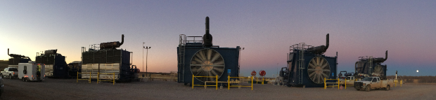 Panoramic Image of Natural Gas Compressor Engines on the Horizon